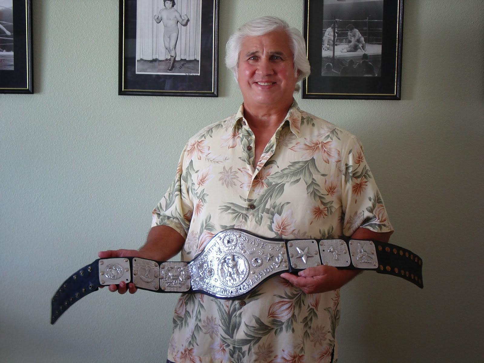 Don Anderson with wrestling memorabilia 1